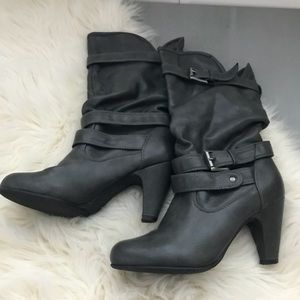 Shoes - Gray Faux Leather, Mid-Calf Boot W/ Buckle Accents